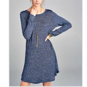 Love Kuza blue long sleeve swing dress